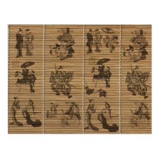 samurai för geisha för mönster för behagfull vykort
