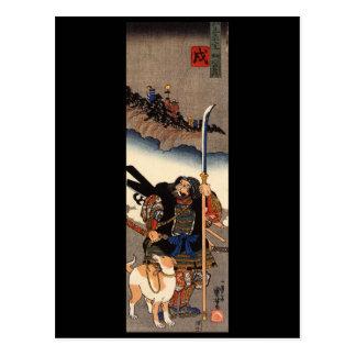 Samurai med hans hund, circa 1800's vykort