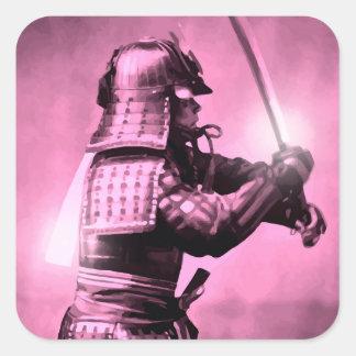 Samurai med svärd fyrkantigt klistermärke