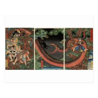 Samurai- och jätteorm circa 1861 vykort