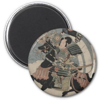 Samurai på hästrygg circa tidiga 1800s magnet