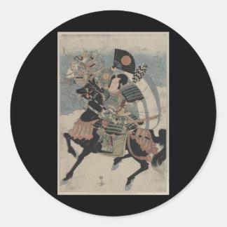 Samurai på hästrygg circa tidiga 1800s runt klistermärke