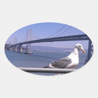 San Francisco Bay överbryggar Ovalt Klistermärke