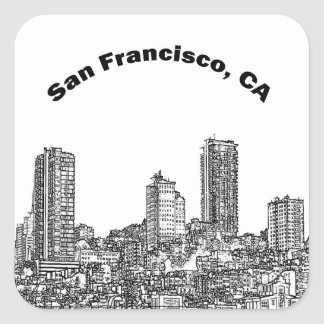 San Francisco fodrar konst Fyrkantigt Klistermärke
