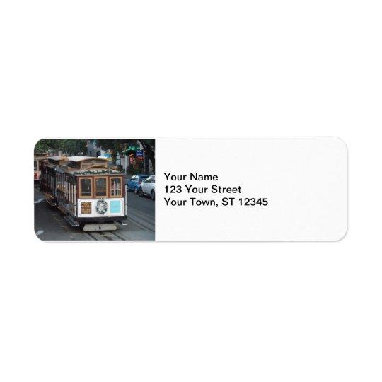 San Francisco kabelbil Returadress Etikett