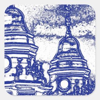 San Francisco kyrka i blått Fyrkantigt Klistermärke