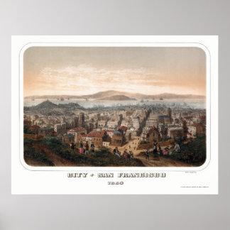 San Francisco panorama- karta för CA - 1860 Poster