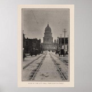 San Francisco stadshus från 8th St Poster