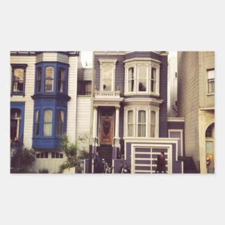 San Francisco unika blått- och lilahus Rektangulärt Klistermärke
