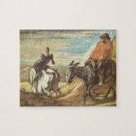 Sancho Panza, universitetslärare Quixote av Honore Jigsaw Puzzle