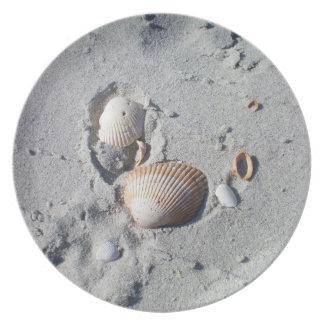 Sand och snäckskal tallrik