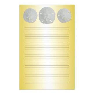Sanddollar på guld fodrat handstilpapper brevpapper