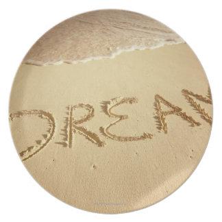"""Sandhandstil """"dröm"""" med inkomma surfa på bästa tallrik"""