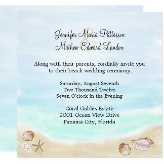 Sandig strandbröllopinbjudan fyrkantigt 13,3 cm inbjudningskort