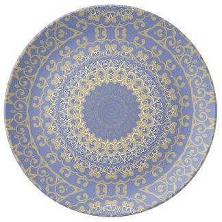 Sandigt guld- Kaleidoscopeporslin pläterar Porslinstallrik