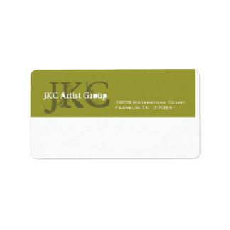 Sändningsetikett för grön affär för vit tre initia adressetikett