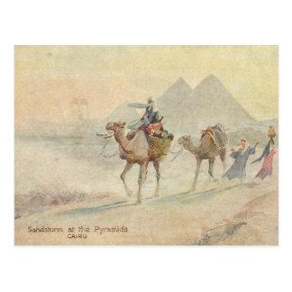 Sandstorm på pyramider vykort