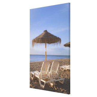Sandstrandstolar med paraplyet canvastryck