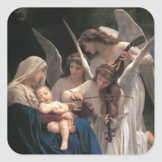 Sång av änglarvintagen fyrkantigt klistermärke