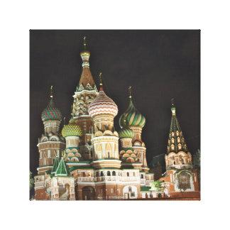 Sanktt basilika Catherdral på natten, Moscow Canvastryck
