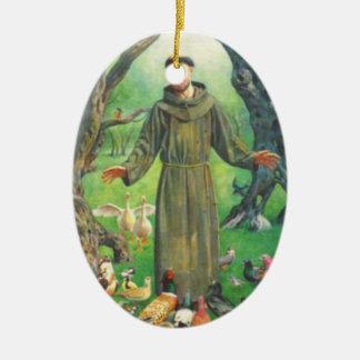 Sanktt Francis och bön för husdjur Julgransprydnad Keramik