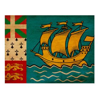 Sanktt Pierre och Miquelon flagga Vykort