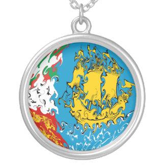 Sanktt Pierre och Miquelon Gnarly flagga Halsband Med Rund Hängsmycke