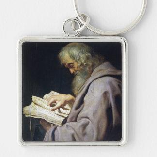 Sanktt Simon Peter Paul Rubens olje- porträtt Fyrkantig Silverfärgad Nyckelring