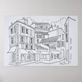 Sanktt-Tropez shopping | franska Riviera, Poster