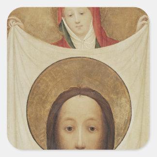 Sanktt Veronica med Sudariumen, c.1420 Fyrkantigt Klistermärke