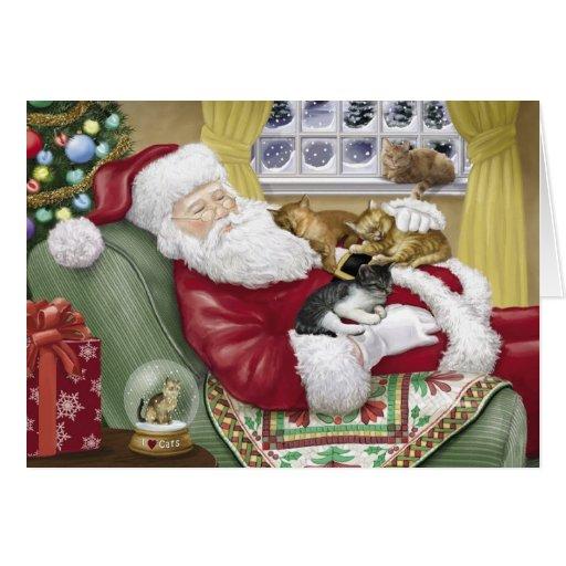Santa älskar kattjulkortet hälsnings kort
