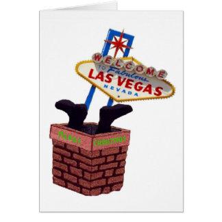 Santa besegrar kortet för lampglasLas Vegas god ju Hälsningskort