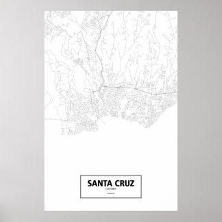 Santa Cruz Kalifornien (svarten på vit) Poster