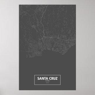 Santa Cruz Kalifornien (vit på svart) Poster
