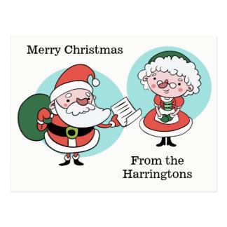 Santa & Fru Claus beställnings- textvykort Vykort