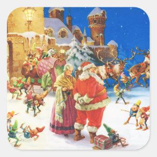 Santa & Fru Claus, julafton, nordpolenen Fyrkantigt Klistermärke