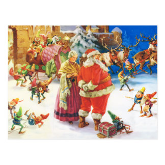 Santa & Fru Claus, julafton, nordpolenen Vykort