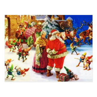 Santa & Fru Claus På nordpolenjulaftonen Vykort