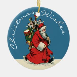Santa & gammal-stil leksaksäck, julgransprydnad keramik
