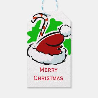 Santa hatt- och candy canegod jul presentetikett
