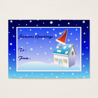 Santa hatt på lampglaset - gåvamärkrekort visitkort