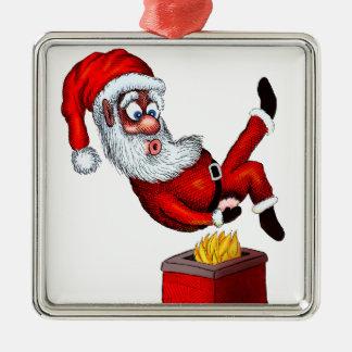 Santa hettända silverfärgad fyrkantigt julgransprydnad