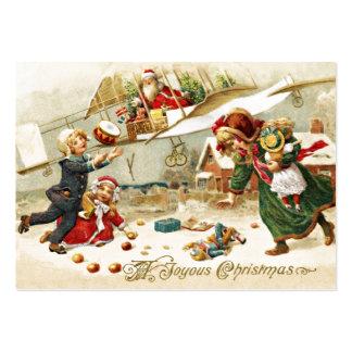Santa i ett flygplan set av breda visitkort