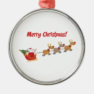 Santa i hans Sleigh Rund Silverfärgad Julgransprydnad