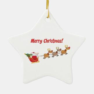 Santa i hans Sleigh Stjärnformad Julgransprydnad I Keramik
