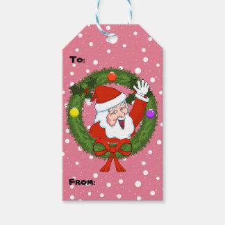 Santa i juletiketter för en kran presentetikett