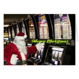 Santa i Vegas som leker springajulkortet Hälsningskort