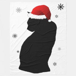 Santa katt med snöullfilten fleecefilt