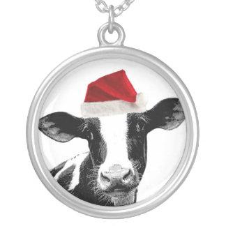 Santa ko - mejeriko som ha på sig den Santa hatten Silverpläterat Halsband