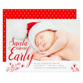 Santa kom den tidiga nyfödda julkortet 12,7 x 17,8 cm inbjudningskort